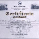 Blue Elephant Cooking school & Restaurant Certificate